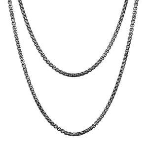 Double Layered Box Chain Necklace - Silver 2mm