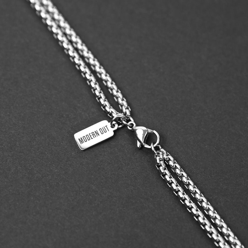 Double Layered Box Chain Necklace - Silver 3mm
