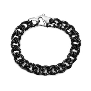 Large Cuban Bracelet - Silver x Black