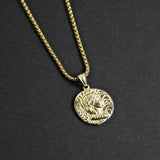 Julius Caesar Coin Necklace - Gold