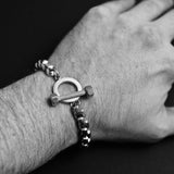 Thick Toggle Bracelet - Antique Silver