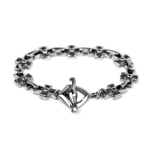 Cross Toggle Bracelet - Silver