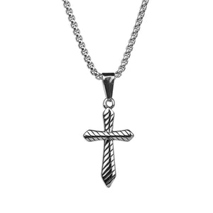 Striped Cross Necklace
