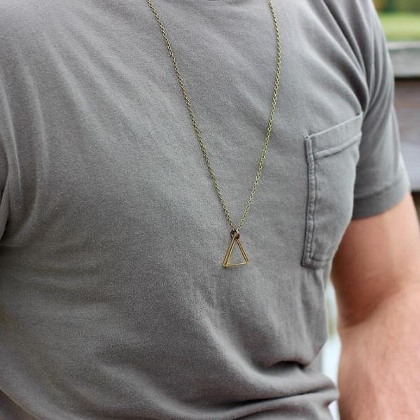 Double Bronze Triangle Pendant Necklace