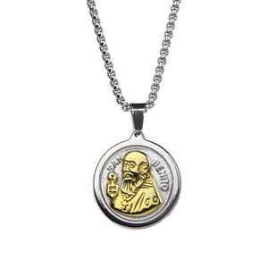 St. Benedict Medallion Necklace - Gold x Silver