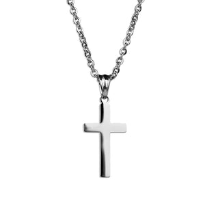 Modern Cross Necklace  - Silver