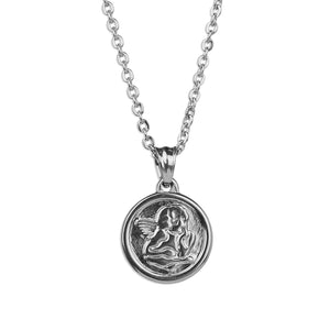 Small Guardian Angel Necklace - Silver