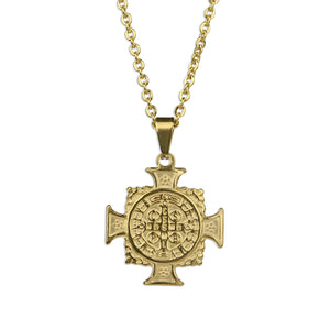 St. Benedict Gold Cross Necklace