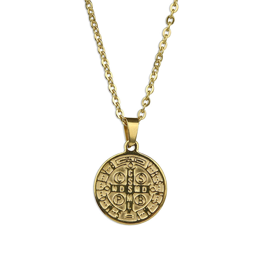 St. Benedict Gold Medallion Necklace