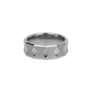 Faceted Tungsten Band - Silver