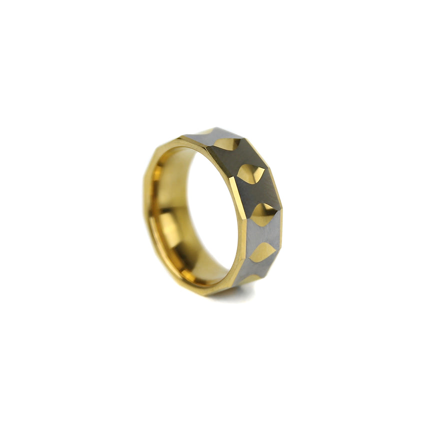 Faceted Tungsten Band - Gold x Silver