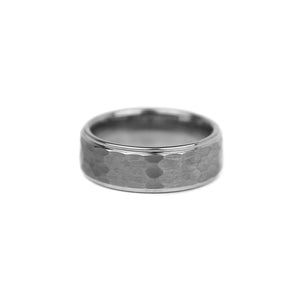 Hammered Tungsten Band - Silver