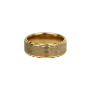 Hammered Tungsten Band - Gold