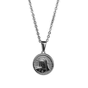 Virgin Mary Disc Necklace - Silver