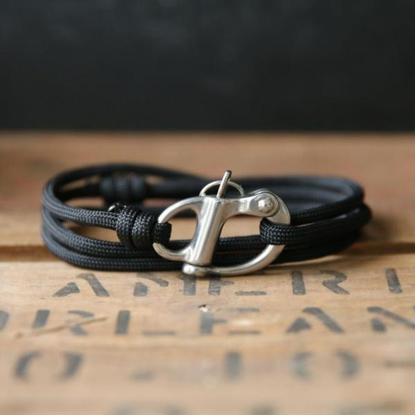 Rope Bracelet - Silver Shackle