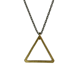 Brass Triangle Necklace (Antique Silver Chain)