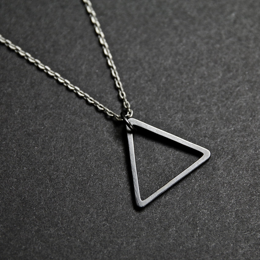 Black Triangle Necklace (Antique Silver Chain)