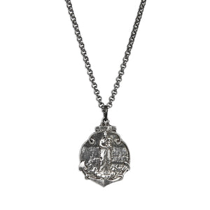 Mary Anchor Medallion Necklace - Premium Silver