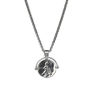 Coin Medallion Necklace - Premium Silver