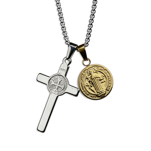 St Benedict Cross Amulet Necklace - Silver x Gold