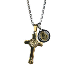 St Benedict Cross Amulet II Necklace - Silver x Gold