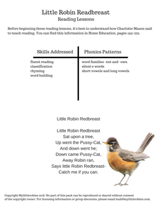 Little Robin Redbreast Printable Reading Pack