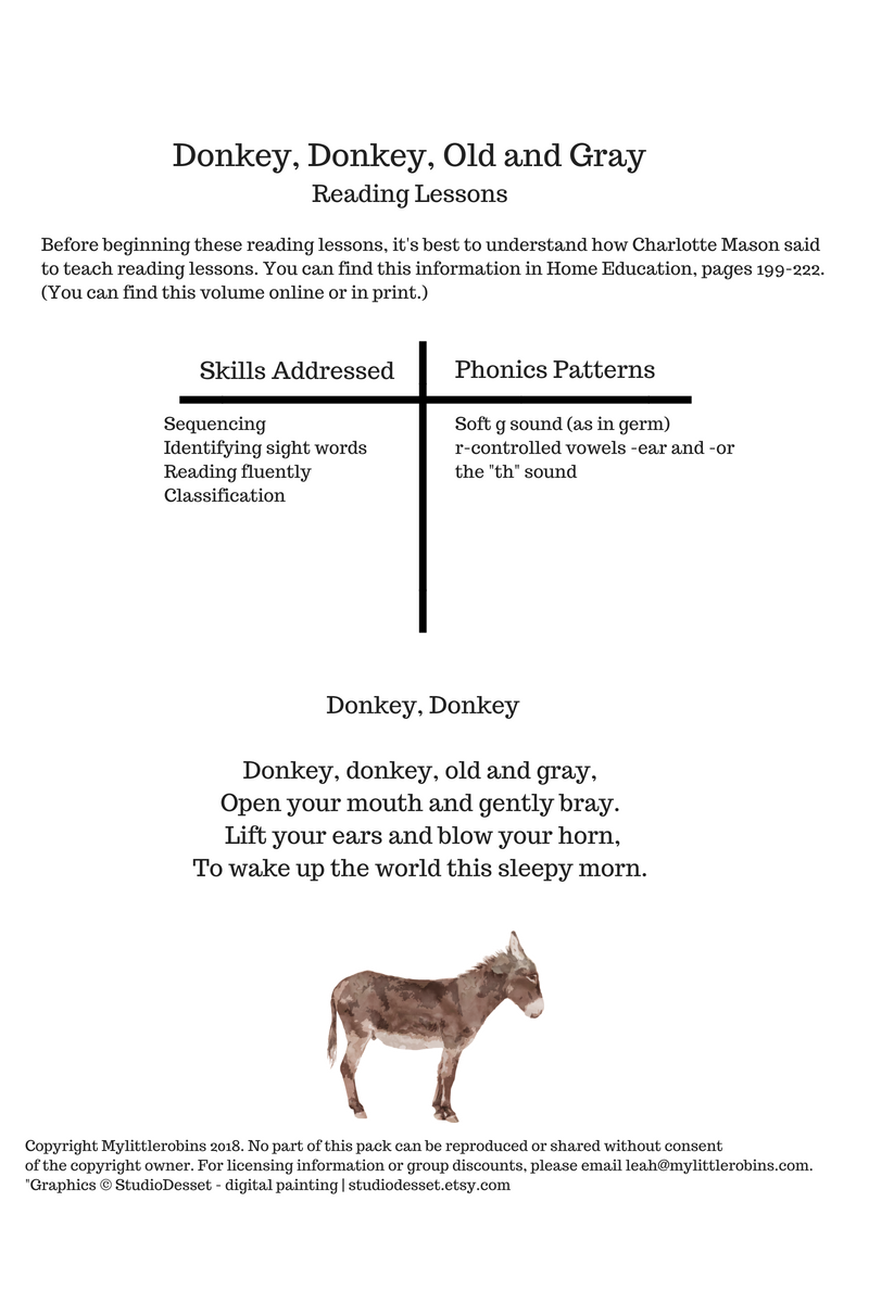 Donkey, Donkey Reading Printable Pack