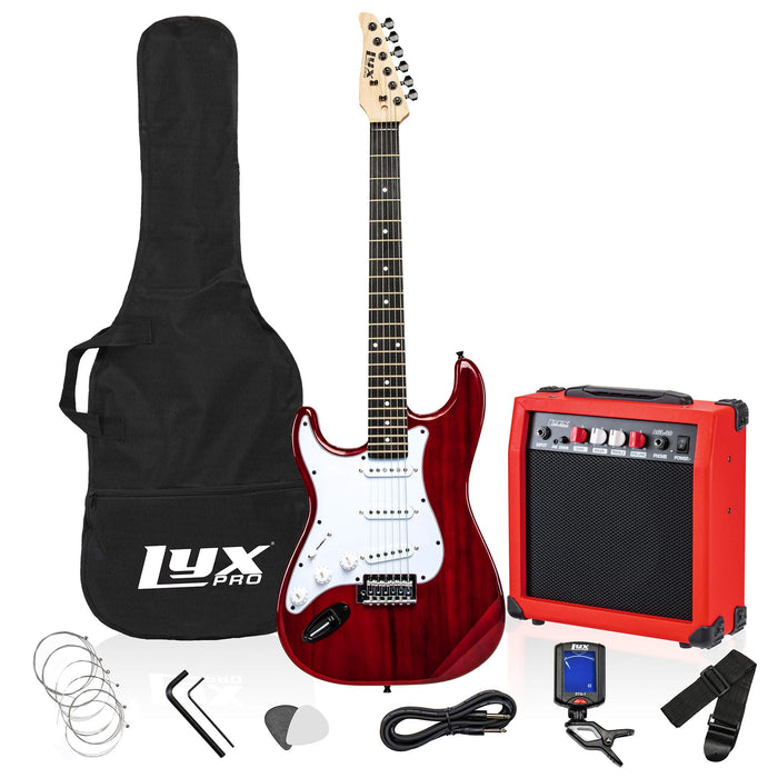"LyxPro Full-Sized 39"" Electric Guitar Kit for Left Handed Beginners with 20 Watt AMP – Pink"