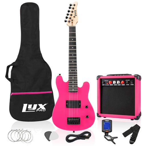 "LyxPro 30"" Electric Guitar for Kids and Beginners with with 20 Watt AMP – Pink"
