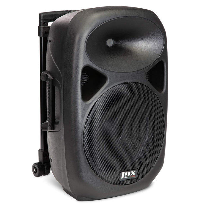 LyxPro SPA-12 BAT Speaker System with Rechargeable Battery, Built-in 2-Band Equalizer, and Handle and Rolling Wheels