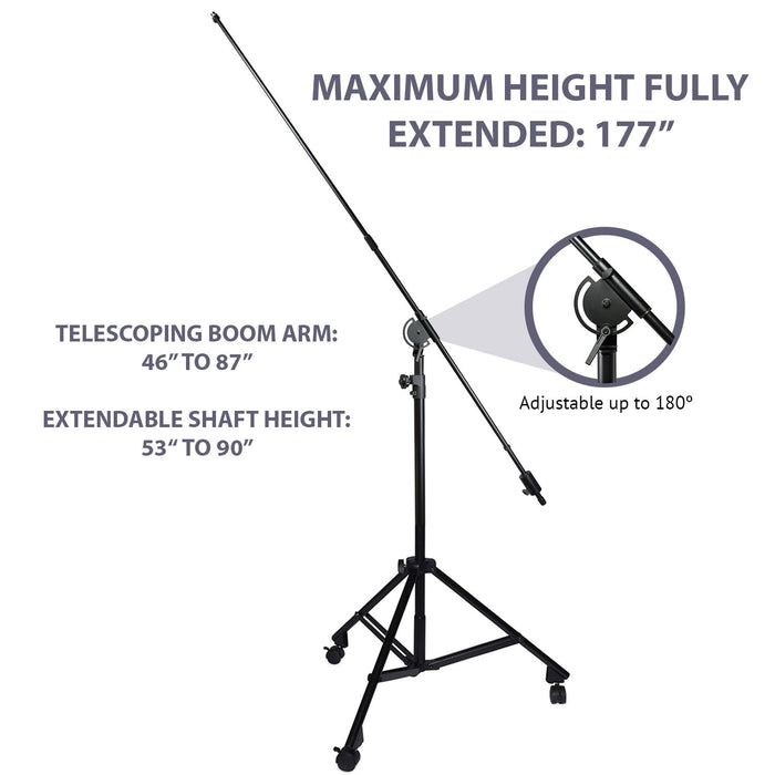 "LyxPro SMT-2 Professional Microphone Stand Heavy Duty 90"" Studio Overhead Boom Stand with Rolling Casters, 87"" Extra Long Telescoping Arm Mount, Foldable Tripod Legs & Adjustable Counterweight"