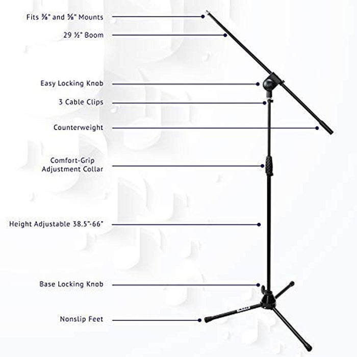 LyxPro TMS-1 Tripod Microphone Boom Floor Stand Adjustable Height