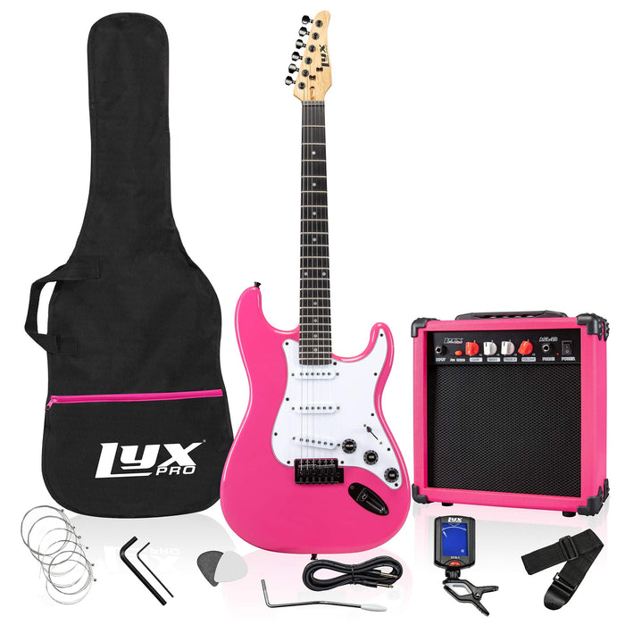 "LyxPro Full-Sized 39"" Electric Guitar Kit With 20 Watt AMP – Pink"
