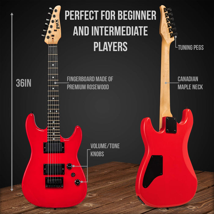 "LyxPro 36"" Electric Guitar Kit for Beginners with 20 Watt AMP – Red"