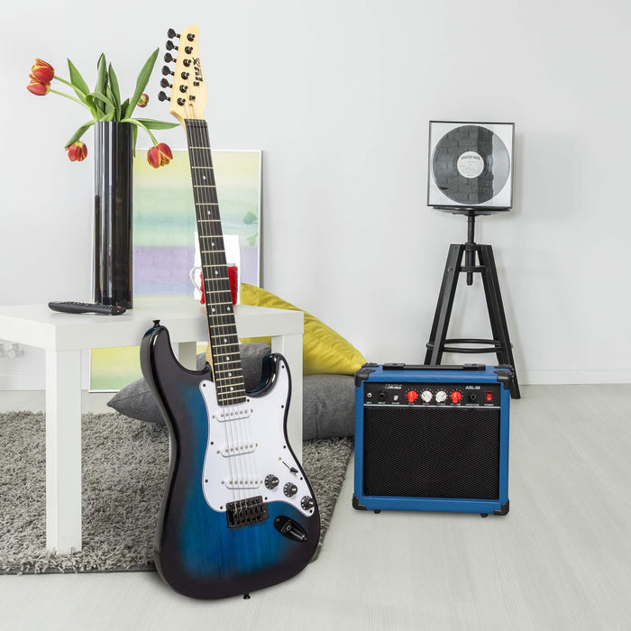 "LyxPro Full-Sized 39"" Electric Guitar Kit With 20 Watt AMP – Blue"