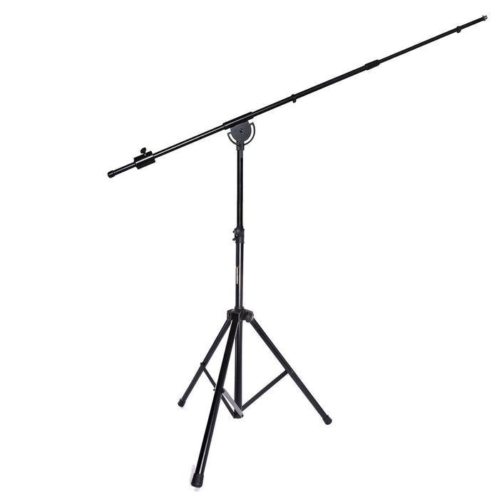 "LyxPro SMT-1 Professional Microphone Stand Heavy Duty 93"" Studio Overhead Boom Stand 76"" Extra Long Telescoping Arm Mount, Foldable Tripod Legs & Adjustable Counterweight"