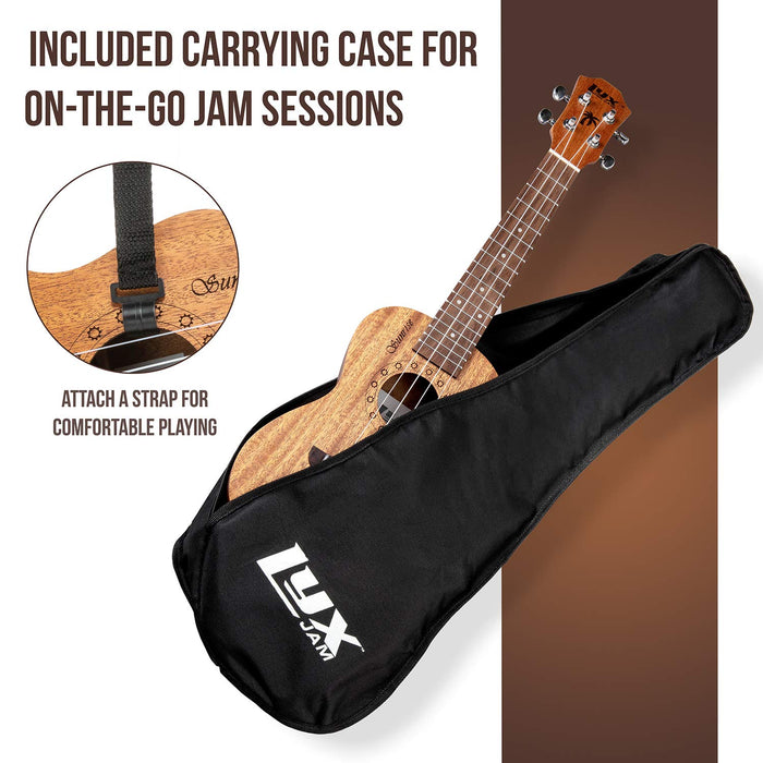 LyxJam Ukulele Starter Kit – 23 Inch Beginner/Intermediate Concert 4 String Ukulele Set in Mahogany Accessories, Carrying Case & FREE Method Book