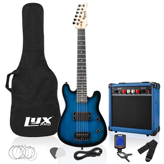 "LyxPro 30"" Electric Guitar for Kids and Beginners with with 20 Watt AMP – Blue"