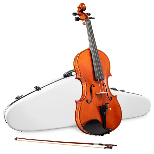 LyxJam Full-sized Spruce and Maple Violin Set with Brazil Wood Bow and Free White Hard Carry Case
