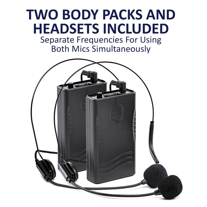 LyxPro Bodypack Transmitter (Pack of 2) with 2 headphones 230.7MHz and 254.6MHz