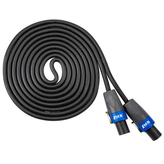 LyxPro Speaker Cable 12 Gauge AWG Speaker Cord - 25 Feet Black - 2 Pole Speakon to Speakon Pro Audio Cord Wire
