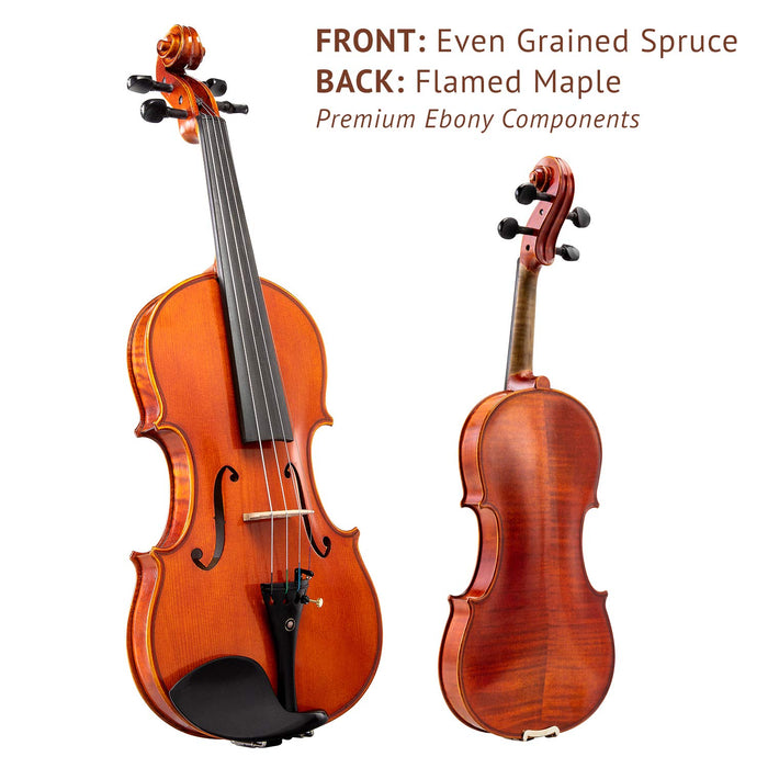 LyxJam Full-sized Spruce and Maple Violin Set with Ebony Tuning Pegs and Free Blue Hard Carry Case