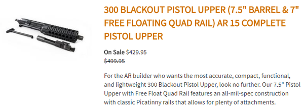 "300 Blackout Pistol Upper (7.5"" Barrel & 7"" Free Floating Quad Rail) AR 15 Complete Pistol Upper"