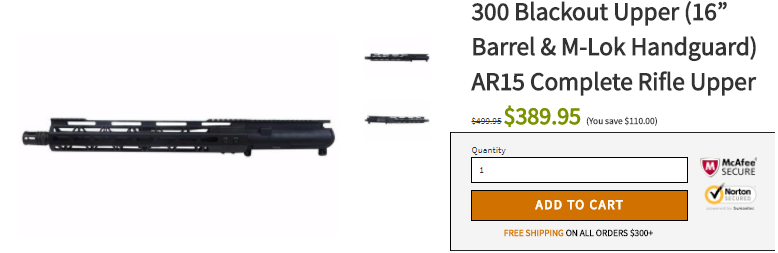 "300 Blackout Upper (16"" Barrel & M-Lok Handguard) AR15 Complete Rifle Upper"