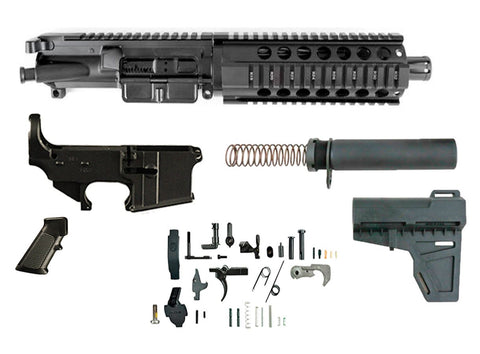 "300 Blackout (7.5"" Barrel & 7"" Free Floating Quad Rail) AR 15 Complete Pistol Build Kit #2 - 300-BlackoutUpper.com"