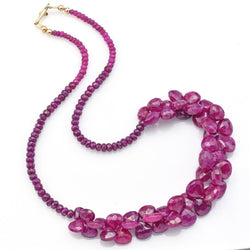 Vintage 14K Yellow Gold Untreated Ruby Faceted Beaded Strand Necklace