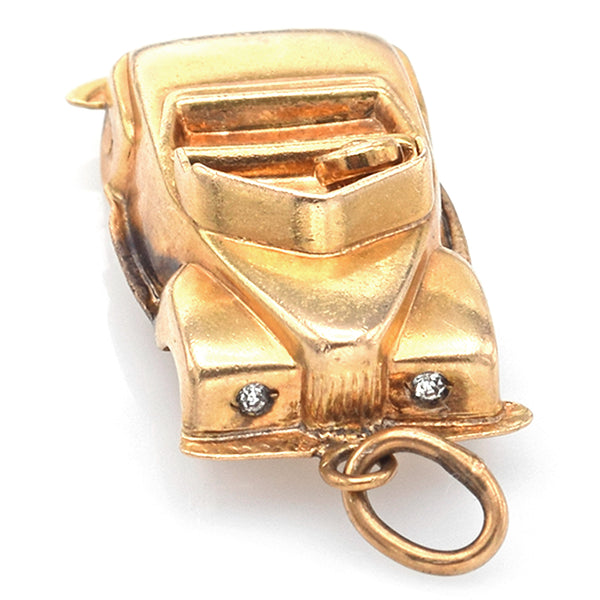 Vintage 14K Yellow Gold CZ Convertible Car Charm Pendant with Moving Wheels