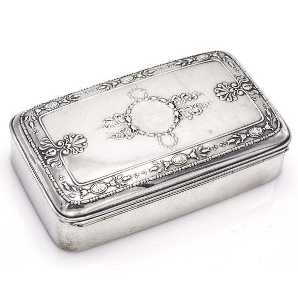 Antique Victorian Sterling Silver Etched Cigar Case Holder Box