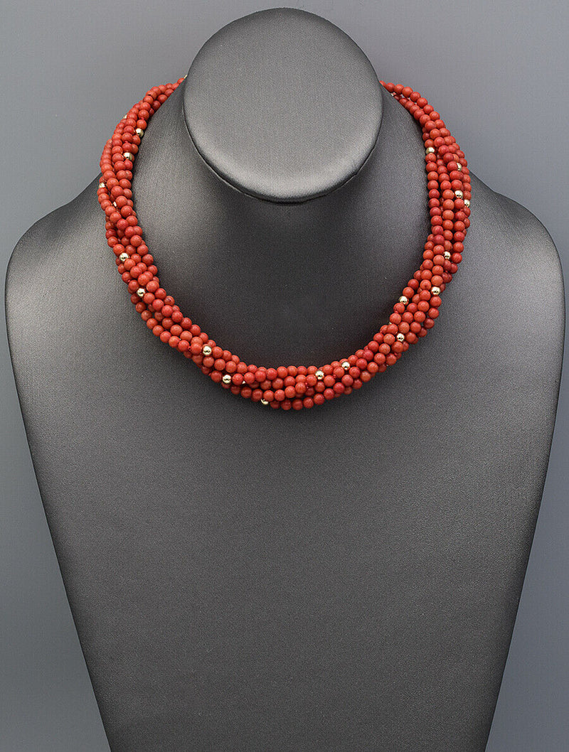 Vintage Red Coral 14k Gold Filled Multi-Strand Beaded Strand Necklace