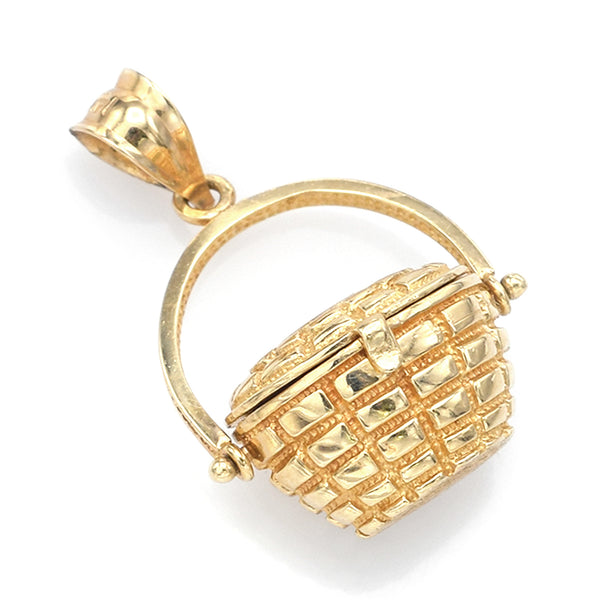 Vintage 14K Yellow Gold Nantucket Basket Charm Pendant